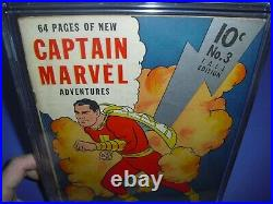 Captain Marvel Adventures #3 CGC 4.5 with OWithW pages 1941! Fawcett not CBCS