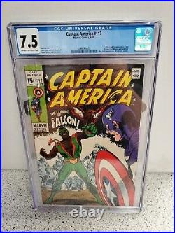 Cgc 7.5 Captain America #117 Marvel Comics 9/69 1st Falcon App