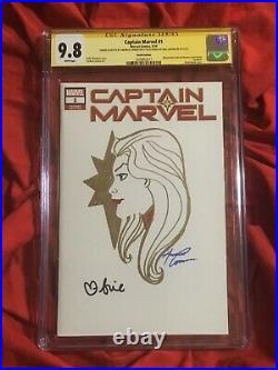 Cgc Ss 9.8captain Marvel #1original Art By Amanda Conner+signed Brie Larson