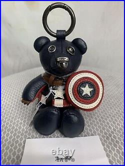 Coach Marvel Captain America Bear Charm Key Ring Limited Edition COLLECTORS ED