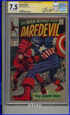 Daredevil #43 Cgc 7.5 Ss Signed Stan Lee Daredevil Vs Captain America Classic
