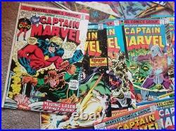 Huge Silver/bronze Age Captain Marvel Comic Lot 1970-1978