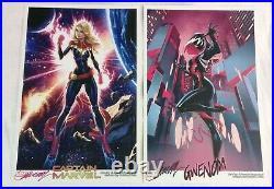 J. Scott Campbell Captain Marvel & Gwenom Eccc 2019 Art Print Set Of 2 Signed