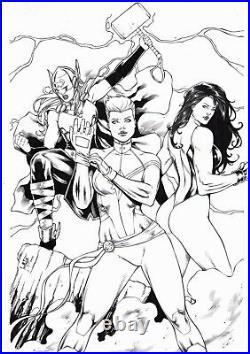 Lady Thor, Captain Marvel & She-Hulk by Leo Matos Original Comic Art 11x17