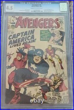 Marvel Avengers #4 CGC 4.0 First Silver Age Captain America MEGA KEY BOOK