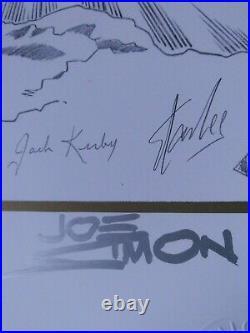 Marvel Captain America B/w Art Litho Jack Kirby Stan Lee Joe Simon Signed Coa