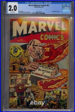 Marvel Mystery Comics #81 Cgc 2.0 Timely Golden Age Captain America Story