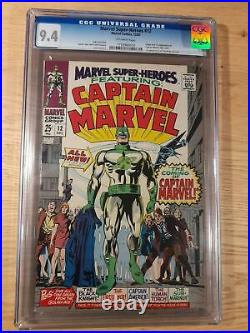 Marvel Super Heroes 12, 1st app. Captain Marvel, Marvel 1967, CGC 9.4