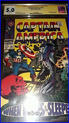 Stan Lee Signed Captain America #101 CGC SS 5.0 Jack Kirby & Romita Sr. Cover