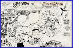 Superman vs Captain Marvel Double page splash art by Rich Buckler DC 1978 YOWZA