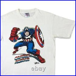 VTG 90s Captain America 1st Avenger Single Stitch Marvel Comic T Shirt XL xmen