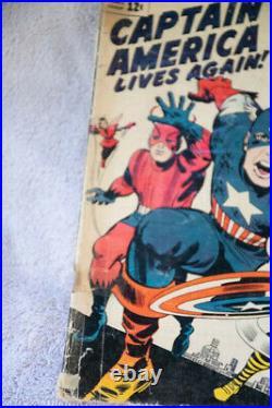 Vintage 1963 Marvel Avengers #4 Comic Book 1st Captain America Silver Age