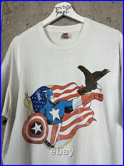 Vintage 1990 Captain America Marvel Comic Movie Artwork Promo Tee Shirt Size XL