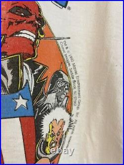Vtg 90s Captain America avengers x-men marvel comic images red skull shirt xl