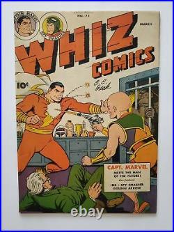 WHIZ COMICS #72 (FVF) 1946 CAPTAIN MARVEL SPY SMASHER APPEARANCE SIGNED by BECK
