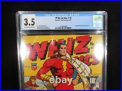 Whiz Comics #16 CGC 3.5 CC Beck Cover and Art Captain Marvel/Spy Smasher